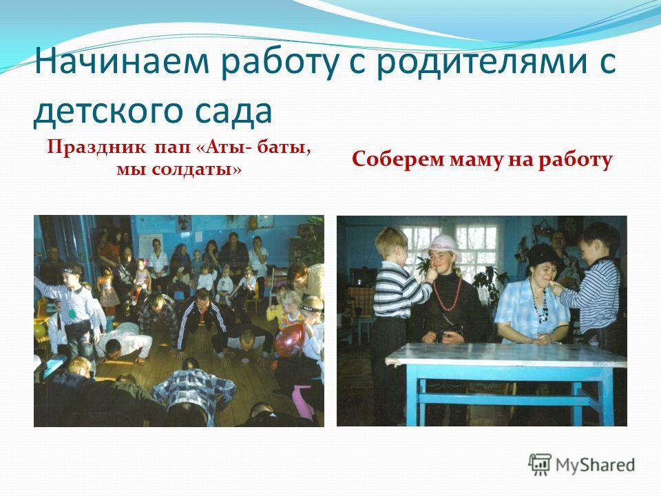 Начинаем работу с родителями с детского сада Праздник пап «Аты- баты, мы солдаты» Соберем маму на работу