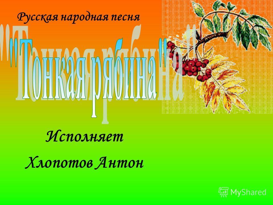 Русская народная песня Исполняет Хлопотов Антон