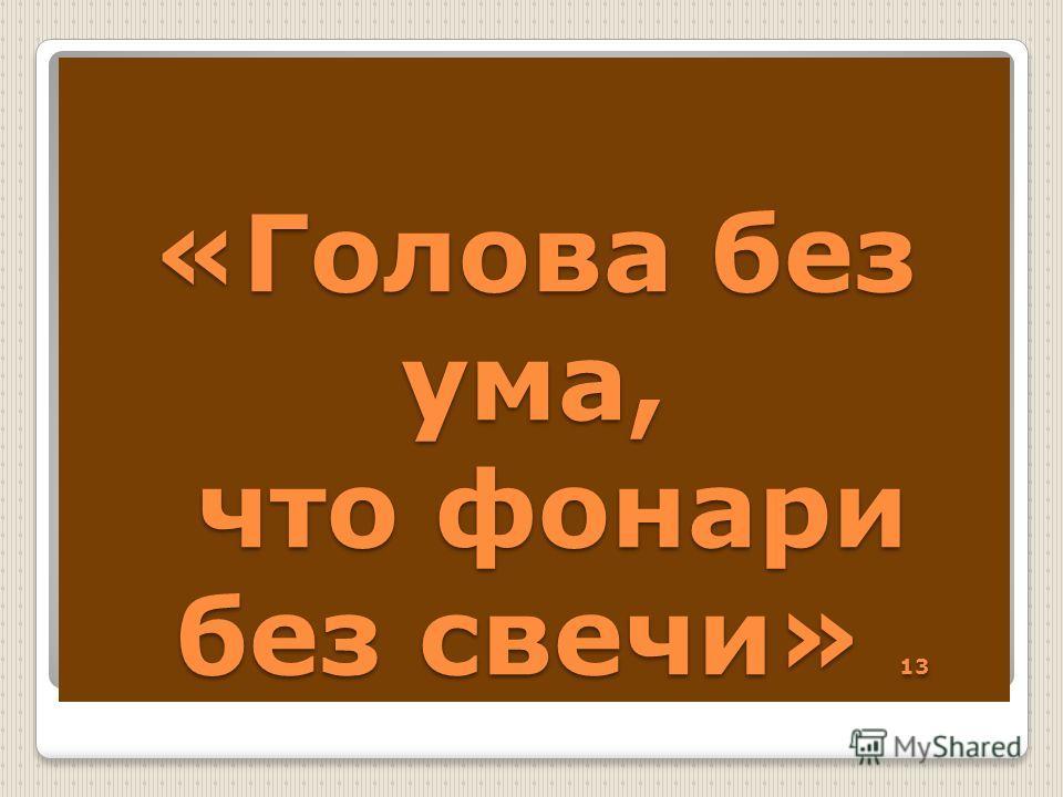 «Голова без ума, что фонари без свечи» 13