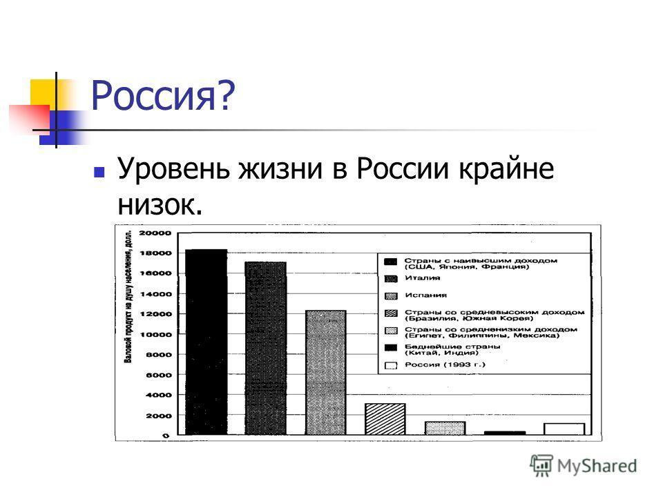 Россия? Уровень жизни в России крайне низок.