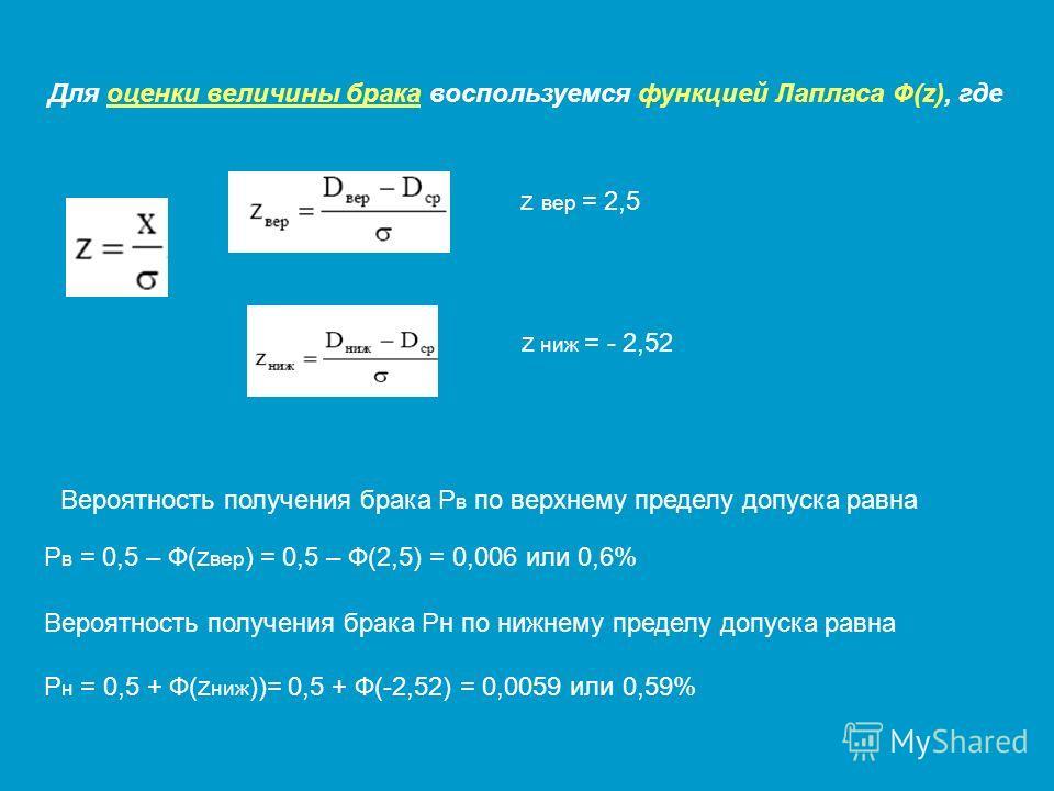 Для оценки величины брака воспользуемся функцией Лапласа Ф(z), где z вер = 2,5 z ниж = - 2,52 Вероятность получения брака Р в по верхнему пределу допуска равна Р в = 0,5 – Ф(z вер ) = 0,5 – Ф(2,5) = 0,006 или 0,6% Вероятность получения брака Рн по ни