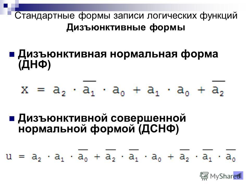 Дизъюнктивная нормальная форма (ДНФ) Дизъюнктивной совершенной нормальной формой (ДСНФ) Стандартные формы записи логических функций Дизъюнктивные формы