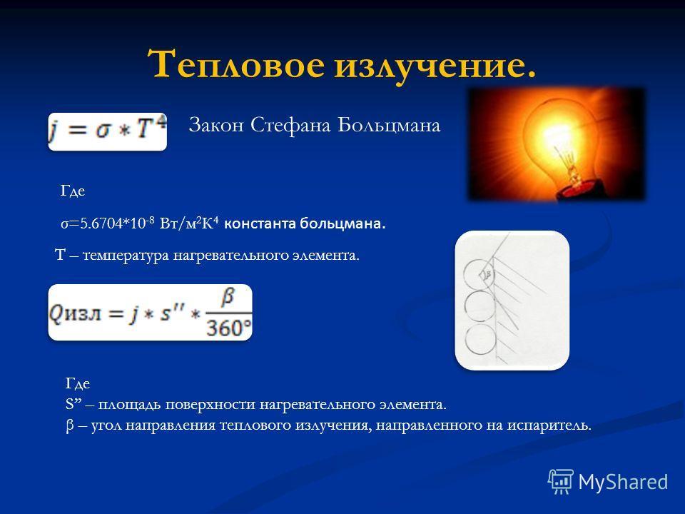 Тепловое излучение. Закон Стефана Больцмана Где σ=5.6704*10 -8 Вт/м 2 К 4 константа больцмана. T – температура нагревательного элемента. Где S – площадь поверхности нагревательного элемента. β – угол направления теплового излучения, направленного на