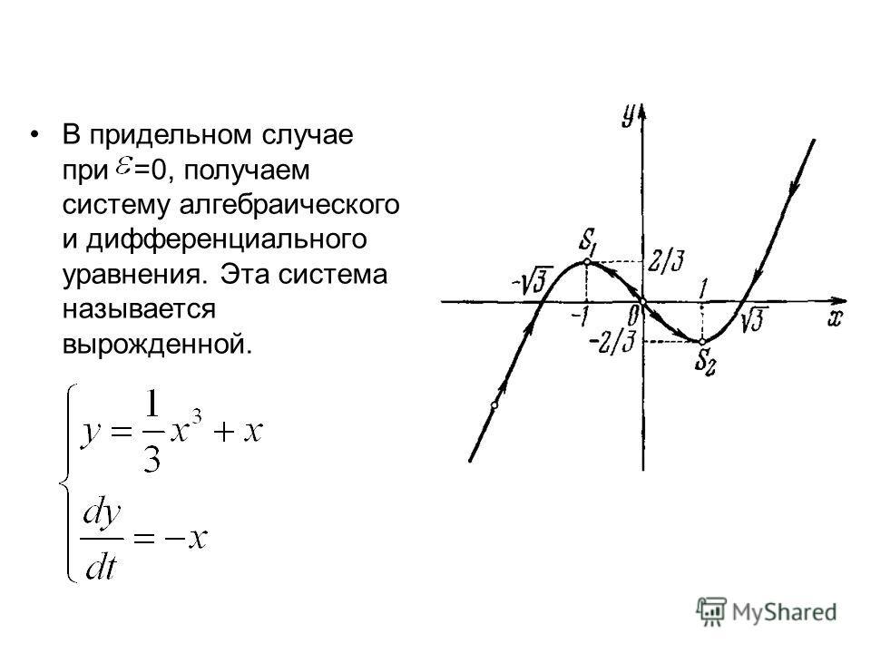 В придельном случае при =0, получаем систему алгебраического и дифференциального уравнения. Эта система называется вырожденной.