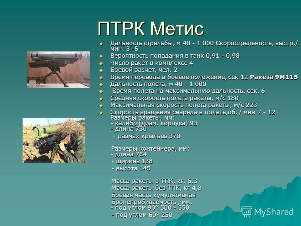 ПТРК Метис Дальность стрельбы, м 40 - 1 000 Скорострельность, выстр./ мин. 3 -5 Дальность стрельбы, м 40 - 1 000 Скорострельность, выстр./ мин. 3 -5 Вероятность попадания в танк 0,91 - 0,98 Вероятность попадания в танк 0,91 - 0,98 Число ракет в компл