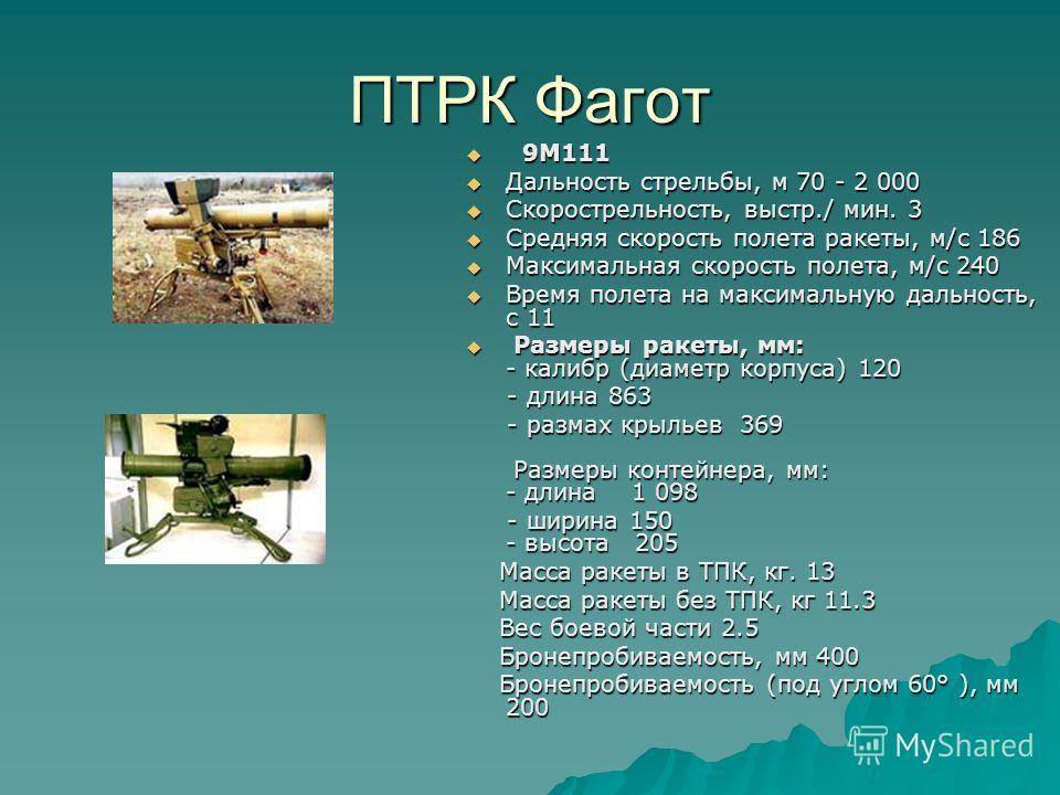 ПТРК Фагот 9М111 9М111 Дальность стрельбы, м 70 - 2 000 Дальность стрельбы, м 70 - 2 000 Скорострельность, выстр./ мин. 3 Скорострельность, выстр./ мин. 3 Средняя скорость полета ракеты, м/с 186 Средняя скорость полета ракеты, м/с 186 Максимальная ск
