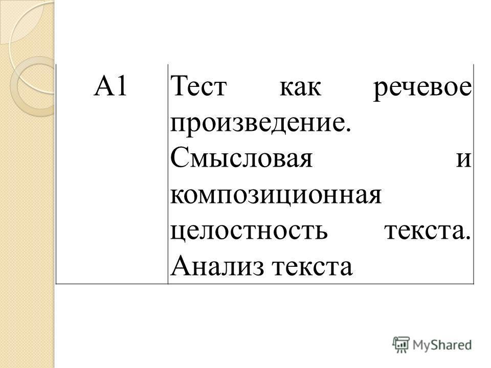 А1Тест как речевое произведение. Смысловая и композиционная целостность текста. Анализ текста