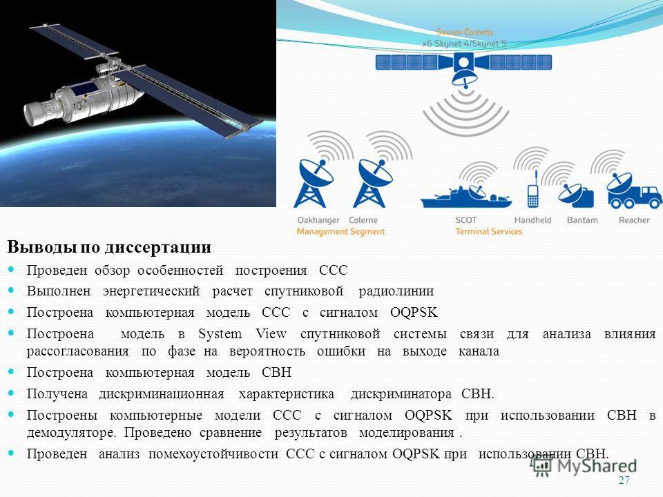Выводы по диссертации Проведен обзор особенностей построения ССС Выполнен энергетический расчет спутниковой радиолинии Построена компьютерная модель ССС с сигналом OQPSK Построена модель в System View спутниковой системы связи для анализа влияния рас