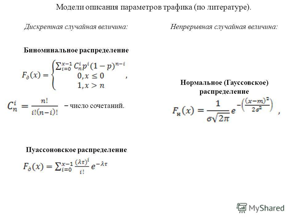 Биноминальное распределение Пуассоновское распределение – число сочетаний. Модели описания параметров трафика (по литературе). Дискретная случайная величина:Непрерывная случайная величина: Нормальное (Гауссовское) распределение