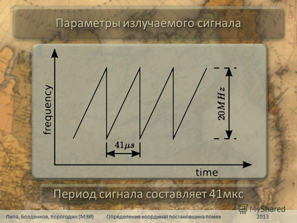 Параметры излучаемого сигнала Период сигнала составляет 41мкс Липа, Болденков, Корогодин (МЭИ) Определение координат постановщика помех 2013