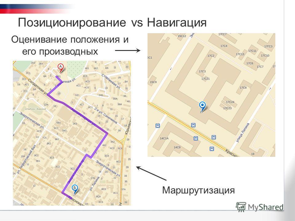 Позиционирование vs Навигация Оценивание положения и его производных Маршрутизация
