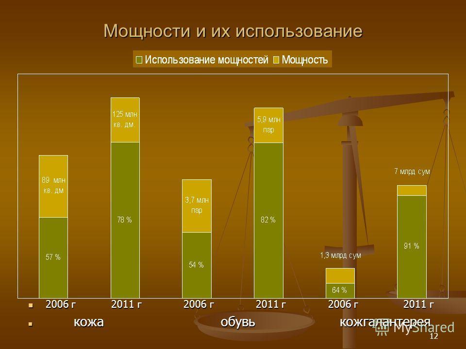 12 Мощности и их использование 2006 г 2011 г 2006 г 2011 г 2006 г 2011 г кожа обувь кожгалантерея