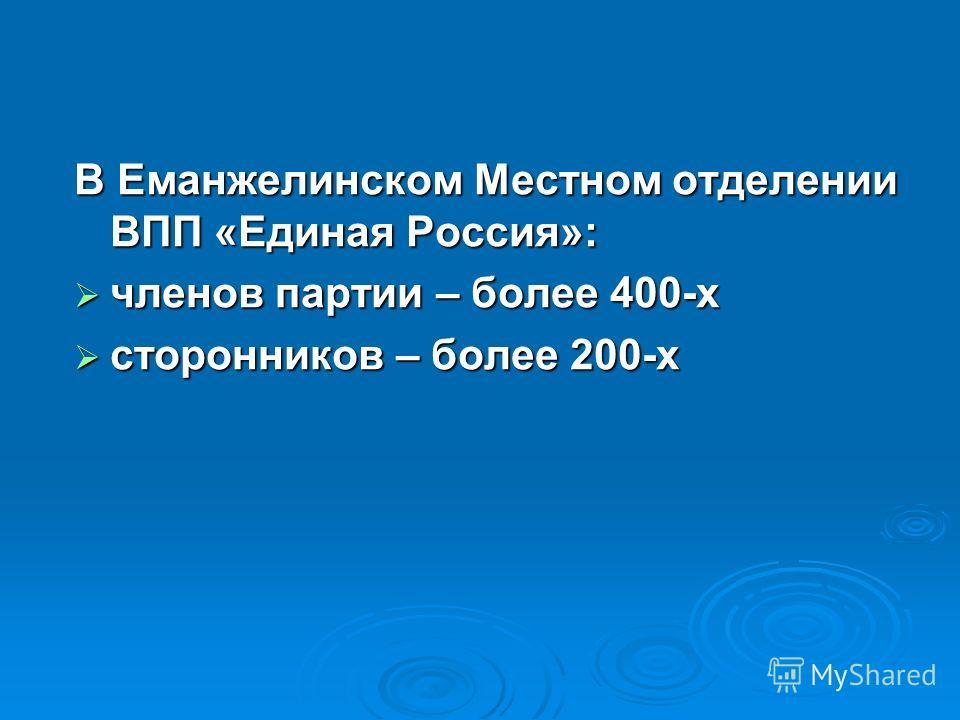 В Еманжелинском Местном отделении ВПП «Единая Россия»: членов партии – более 400-х членов партии – более 400-х сторонников – более 200-х сторонников – более 200-х