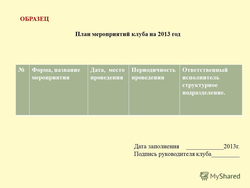 ОБРАЗЕЦ План мероприятий клуба на 2013 год Форма, название мероприятия Дата, место проведения Периодичность проведения Ответственный исполнитель структурное подразделение. Дата заполнения ____________2013г. Подпись руководителя клуба_________