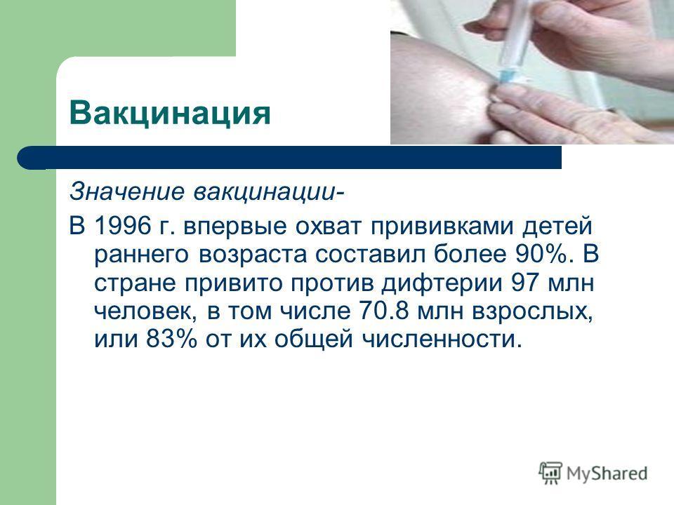 Вакцинация Значение вакцинации- В 1996 г. впервые охват прививками детей раннего возраста составил более 90%. В стране привито против дифтерии 97 млн человек, в том числе 70.8 млн взрослых, или 83% от их общей численности.