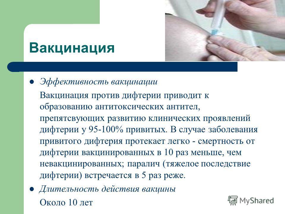 Вакцинация Эффективность вакцинации Вакцинация против дифтерии приводит к образованию антитоксических антител, препятсвующих развитию клинических проявлений дифтерии у 95-100% привитых. В случае заболевания привитого дифтерия протекает легко - смертн