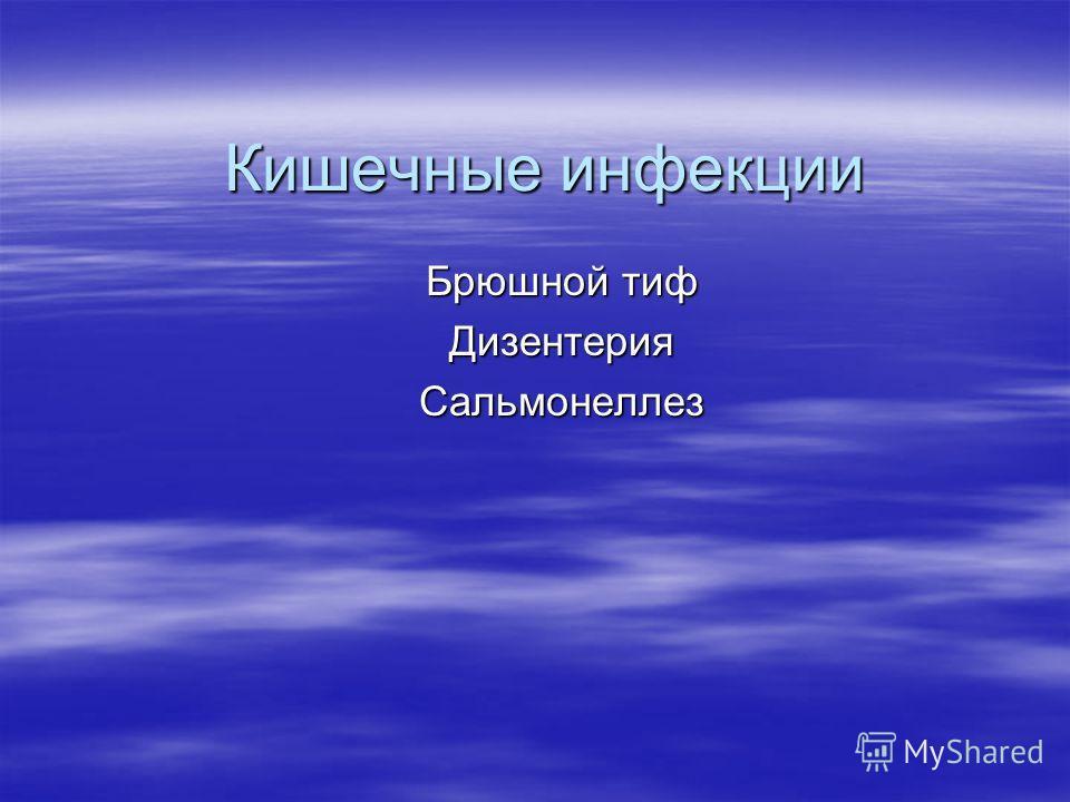 Кишечные инфекции Брюшной тиф ДизентерияСальмонеллез