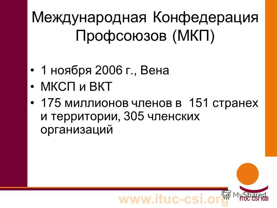 www.ituc-csi.org Международная Конфедерация Профсоюзов (МКП) 1 ноября 2006 г., Вена МКСП и ВКТ 175 миллионов членов в 151 странех и территории, 305 членских организаций