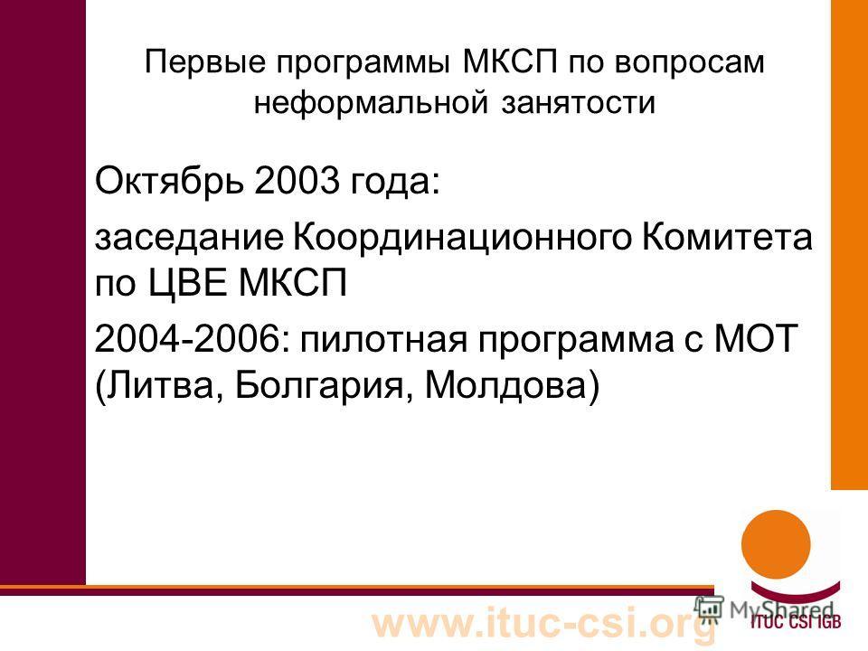 www.ituc-csi.org Первые программы МКСП по вопросам неформальной занятости Октябрь 2003 года: заседание Координационного Комитета по ЦВЕ МКСП 2004-2006: пилотная программа с МОТ (Литва, Болгария, Молдова)