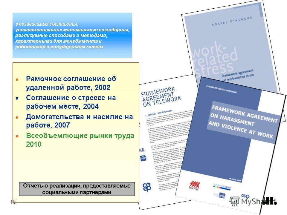 3 независимых соглашения, устанавливающие минимальные стандарты, реализуемые способами и методами, характерными для менеджмента и работников в государствах-членах Рамочное соглашение об удаленной работе, 2002 Соглашение о стрессе на рабочем месте, 20