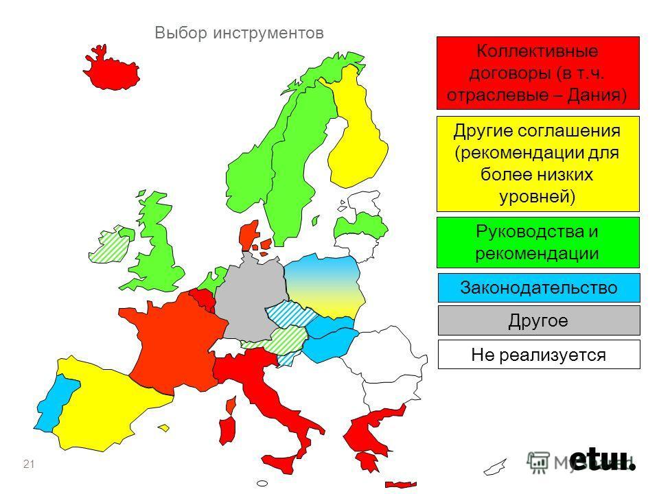 Выбор инструментов Коллективные договоры (в т.ч. отраслевые – Дания) Другие соглашения (рекомендации для более низких уровней) Руководства и рекомендации Законодательство Другое Не реализуется 21