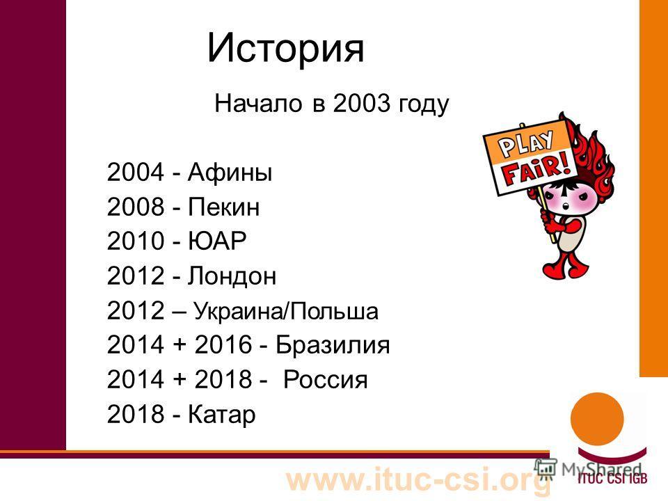www.ituc-csi.org История Начало в 2003 году 2004 - Афины 2008 - Пекин 2010 - ЮАР 2012 - Лондон 2012 – Украина/Польша 2014 + 2016 - Бразилия 2014 + 2018 - Россия 2018 - Катар