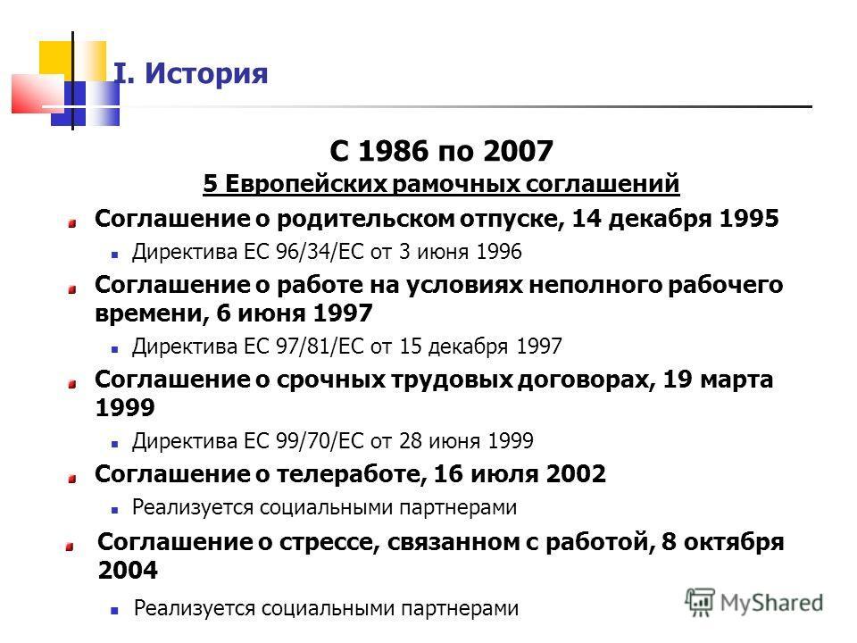 I. История С 1986 по 2007 5 Европейских рамочных соглашений Соглашение о родительском отпуске, 14 декабря 1995 Директива ЕС 96/34/EC от 3 июня 1996 Соглашение о работе на условиях неполного рабочего времени, 6 июня 1997 Директива ЕС 97/81/EC от 15 де