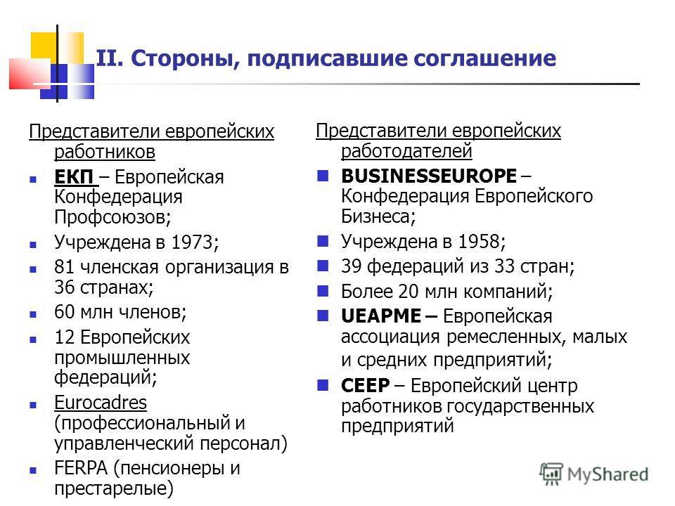 Представители европейских работников ЕКП – Европейская Конфедерация Профсоюзов; Учреждена в 1973; 81 членская организация в 36 странах; 60 млн членов; 12 Европейских промышленных федераций; Eurocadres (профессиональный и управленческий персонал) FERP