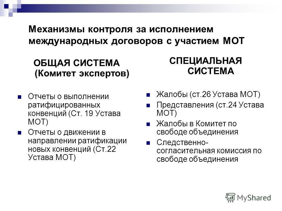 Механизмы контроля за исполнением международных договоров с участием МОТ ОБЩАЯ СИСТЕМА (Комитет экспертов) Отчеты о выполнении ратифицированных конвенций (Ст. 19 Устава МОТ) Отчеты о движении в направлении ратификации новых конвенций (Ст.22 Устава МО
