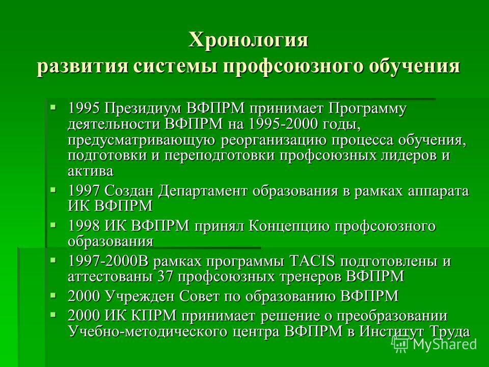 Хронология развития системы профсоюзного обучения 1995 Президиум ВФПРМ принимает Программу деятельности ВФПРМ на 1995-2000 годы, предусматривающую реорганизацию процесса обучения, подготовки и переподготовки профсоюзных лидеров и актива 1995 Президиу