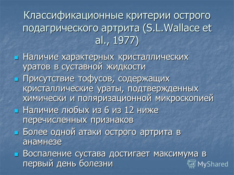 Классификационные критерии острого подагрического артрита (S.L.Wallace et al., 1977) Наличие характерных кристаллических уратов в суставной жидкости Наличие характерных кристаллических уратов в суставной жидкости Присутствие тофусов, содержащих крист