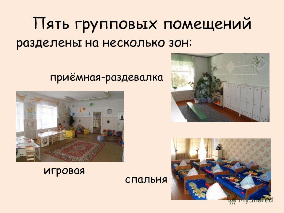 Пять групповых помещений разделены на несколько зон: приёмная-раздевалка игровая спальня