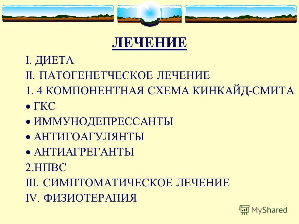 ЛЕЧЕНИЕ I. ДИЕТА II. ПАТОГЕНЕТЧЕСКОЕ ЛЕЧЕНИЕ 1. 4 КОМПОНЕНТНАЯ СХЕМА КИНКАЙД-СМИТА ГКС ИММУНОДЕПРЕССАНТЫ АНТИГОАГУЛЯНТЫ АНТИАГРЕГАНТЫ 2.НПВС III. СИМПТОМАТИЧЕСКОЕ ЛЕЧЕНИЕ IV. ФИЗИОТЕРАПИЯ