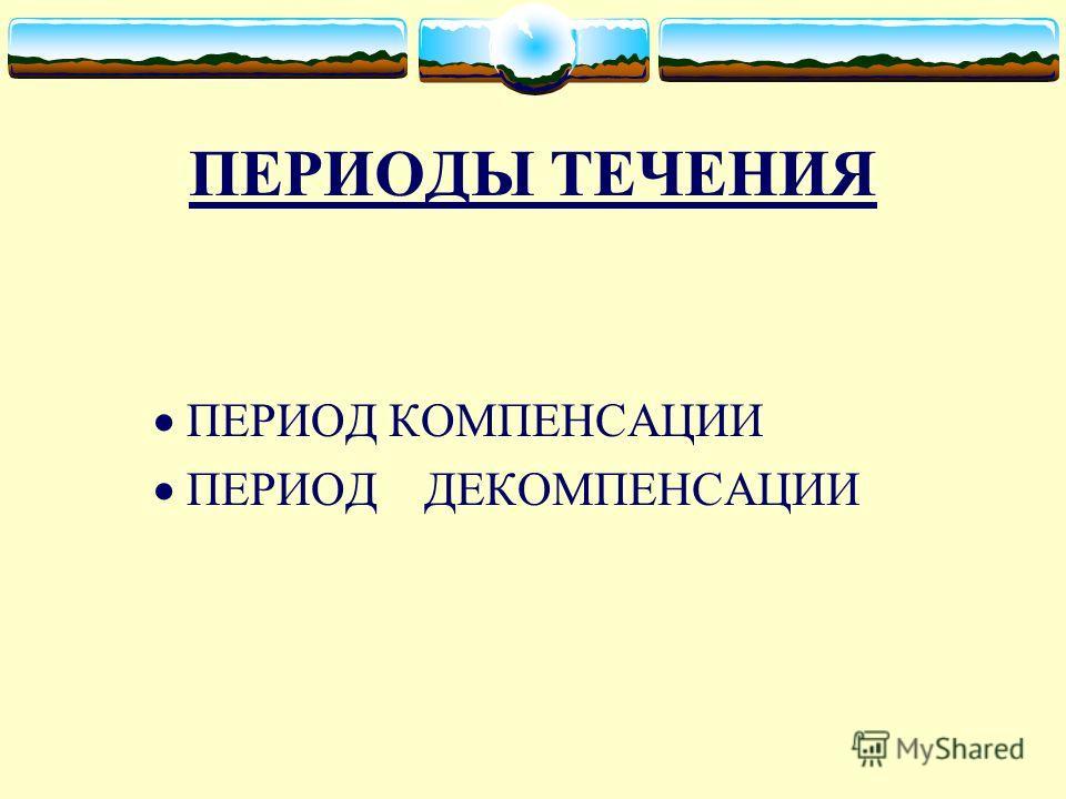 ПЕРИОДЫ ТЕЧЕНИЯ ПЕРИОД КОМПЕНСАЦИИ ПЕРИОД ДЕКОМПЕНСАЦИИ