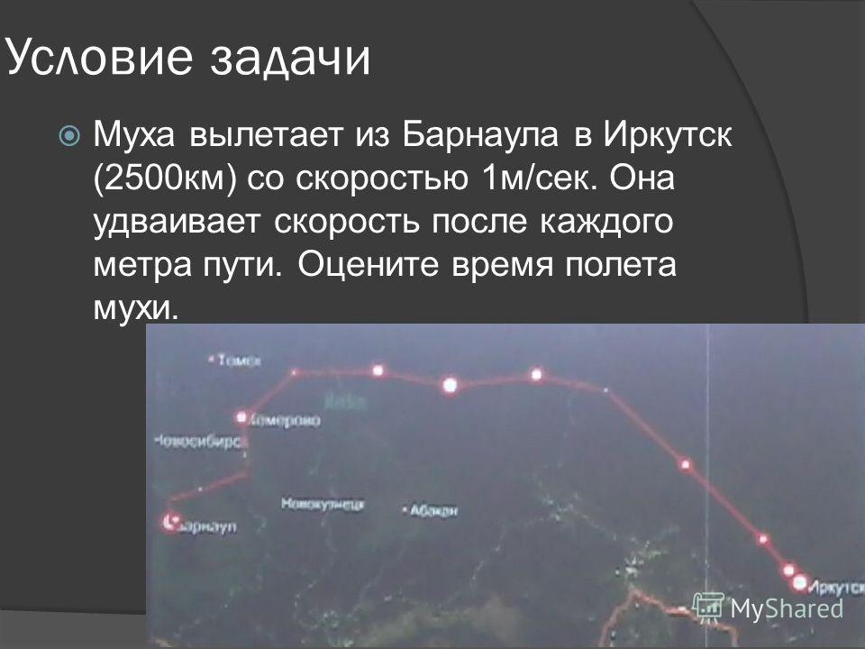 Условие задачи Муха вылетает из Барнаула в Иркутск (2500км) со скоростью 1м/сек. Она удваивает скорость после каждого метра пути. Оцените время полета мухи.