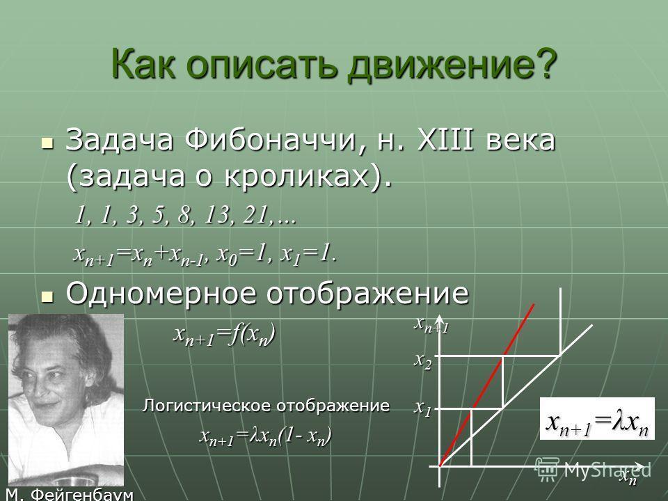 Как описать движение? Задача Фибоначчи, н. XIII века (задача о кроликах). Задача Фибоначчи, н. XIII века (задача о кроликах). 1, 1, 3, 5, 8, 13, 21,… x n+1 =x n +x n-1, x 0 =1, x 1 =1. Одномерное отображение Одномерное отображение x n+1 =f(x n ) x1x1