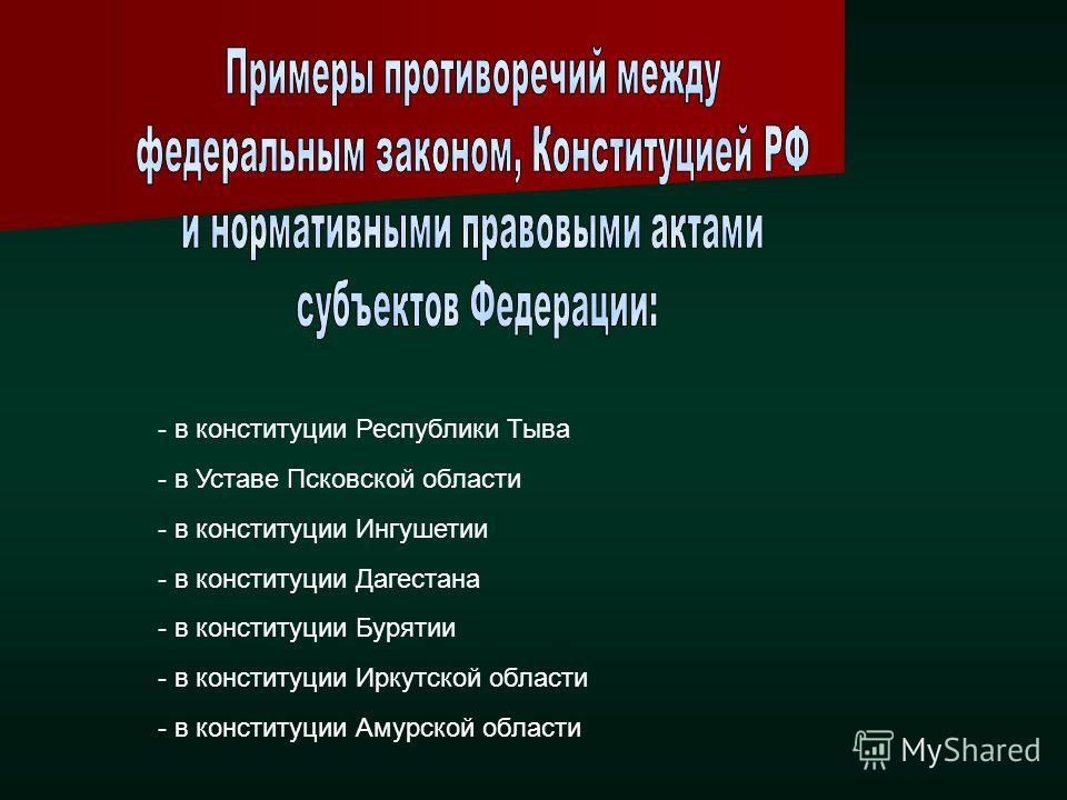 - в конституции Республики Тыва - в Уставе Псковской области - в конституции Ингушетии - в конституции Дагестана - в конституции Бурятии - в конституции Иркутской области - в конституции Амурской области
