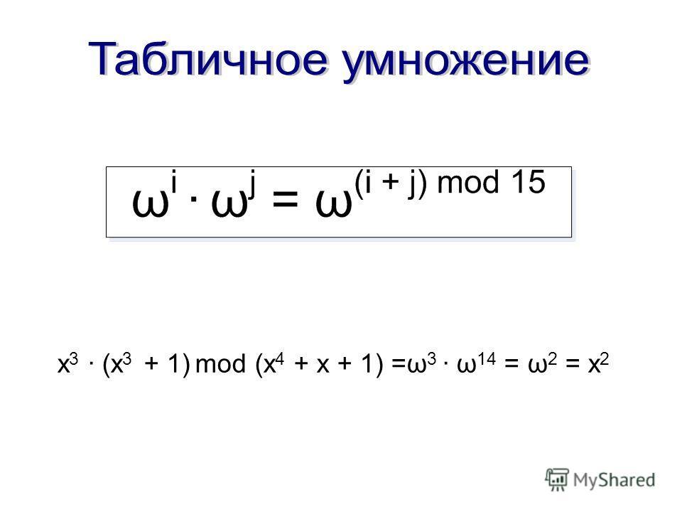 x 3 · (x 3 + 1) mod (x 4 + x + 1) =ω 3 · ω 14 = ω 2 = x 2