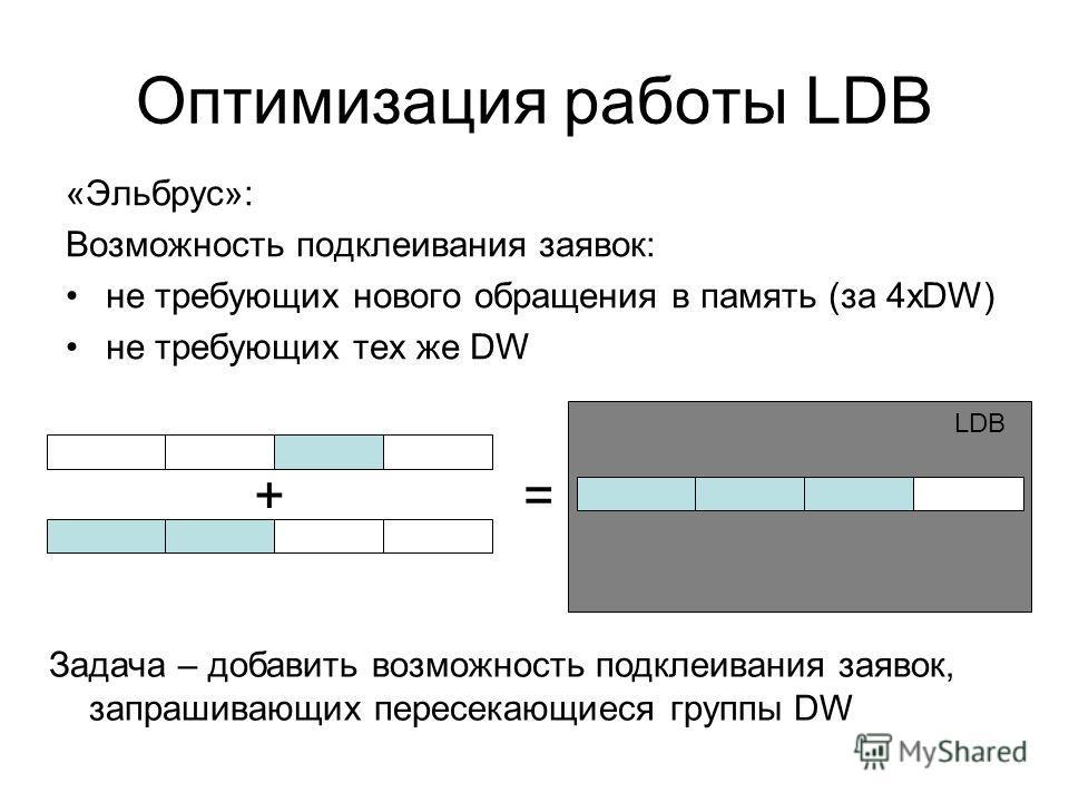 Оптимизация работы LDB «Эльбрус»: Возможность подклеивания заявок: не требующих нового обращения в память (за 4xDW) не требующих тех же DW Задача – добавить возможность подклеивания заявок, запрашивающих пересекающиеся группы DW += LDB