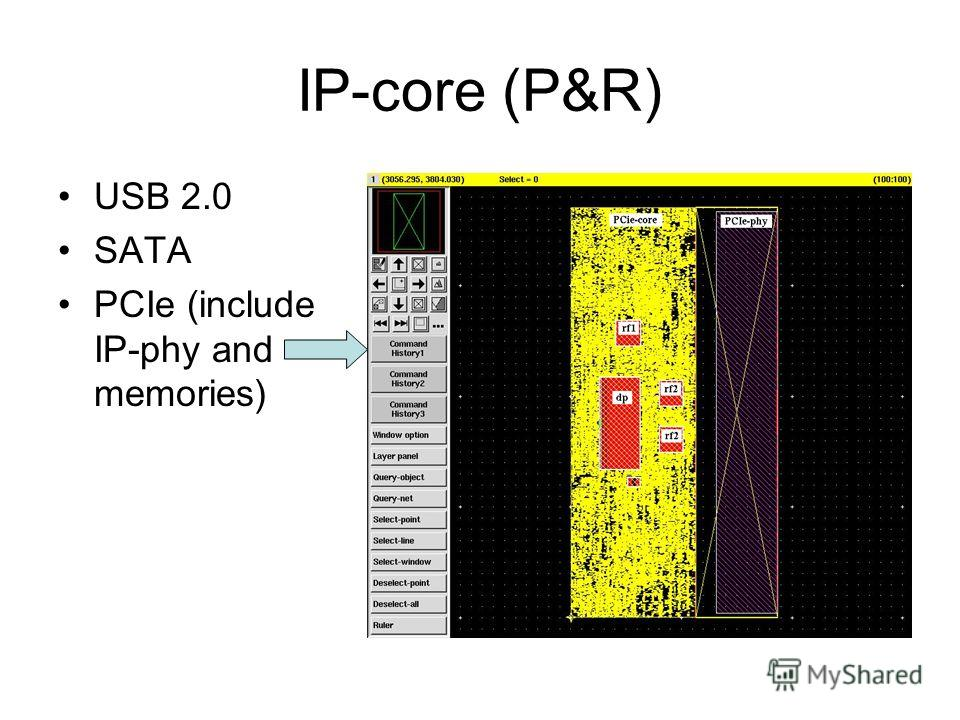 IP-core (P&R) USB 2.0 SATA PCIe (include IP-phy and memories)
