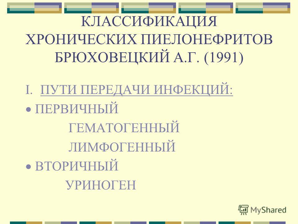 КЛАССИФИКАЦИЯ ХРОНИЧЕСКИХ ПИЕЛОНЕФРИТОВ БРЮХОВЕЦКИЙ А.Г. (1991) I. ПУТИ ПЕРЕДАЧИ ИНФЕКЦИЙ: ПЕРВИЧНЫЙ ГЕМАТОГЕННЫЙ ЛИМФОГЕННЫЙ ВТОРИЧНЫЙ УРИНОГЕН