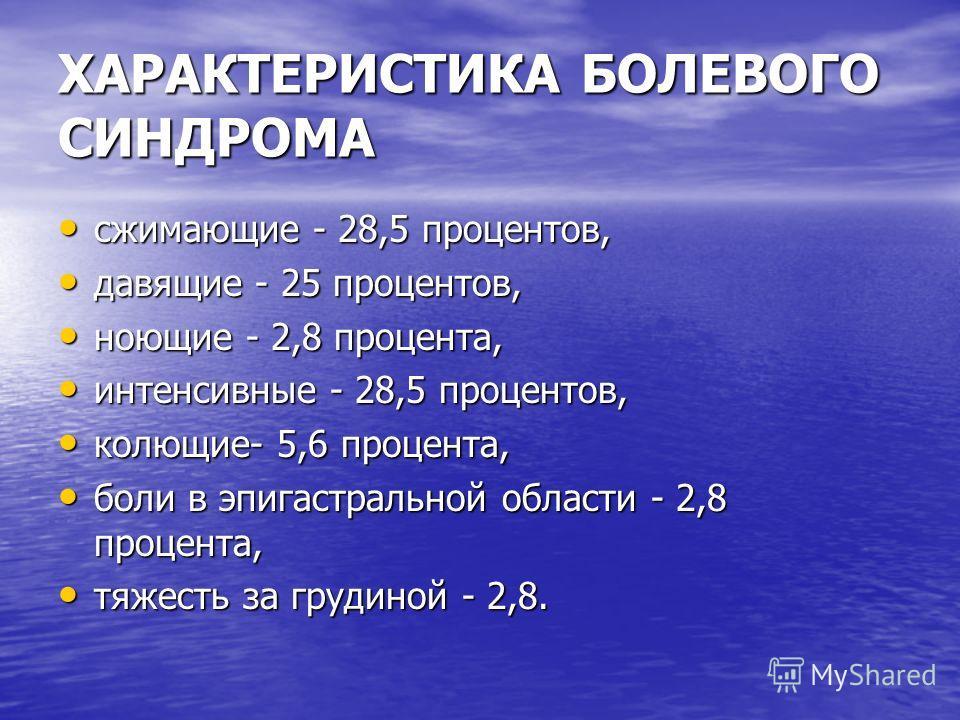 ХАРАКТЕРИСТИКА БОЛЕВОГО СИНДРОМА сжимающие - 28,5 процентов, сжимающие - 28,5 процентов, давящие - 25 процентов, давящие - 25 процентов, ноющие - 2,8 процента, ноющие - 2,8 процента, интенсивные - 28,5 процентов, интенсивные - 28,5 процентов, колющие