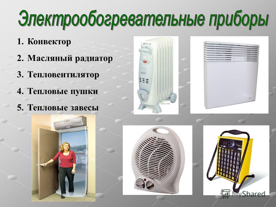1.Конвектор 2.Масляный радиатор 3.Тепловентилятор 4.Тепловые пушки 5.Тепловые завесы