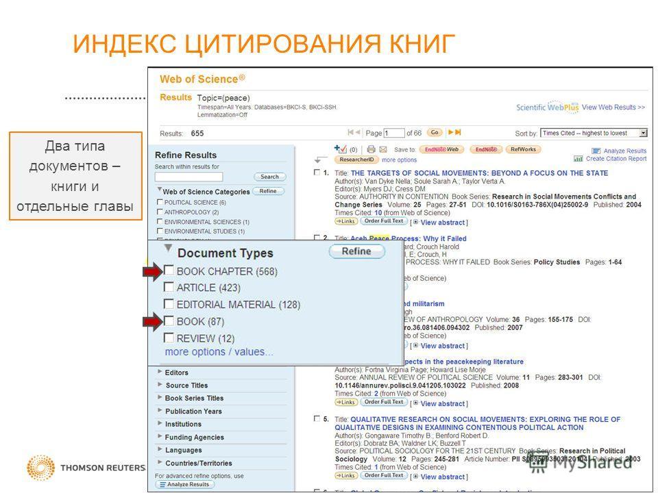 Два типа документов – книги и отдельные главы ИНДЕКС ЦИТИРОВАНИЯ КНИГ