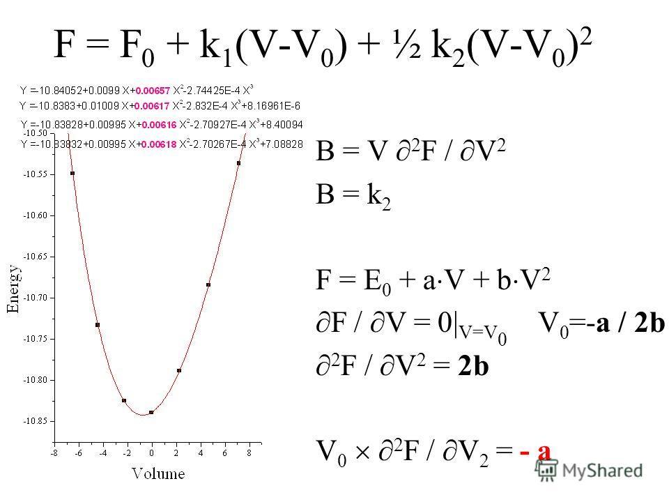 F = F 0 + k 1 (V-V 0 ) + ½ k 2 (V-V 0 ) 2 B = V 2 F / V 2 B = k 2 F = E 0 + a V + b V 2 F / V = 0| V=V 0 V 0 =-a / 2b 2 F / V 2 = 2b V 0 2 F / V 2 = - a