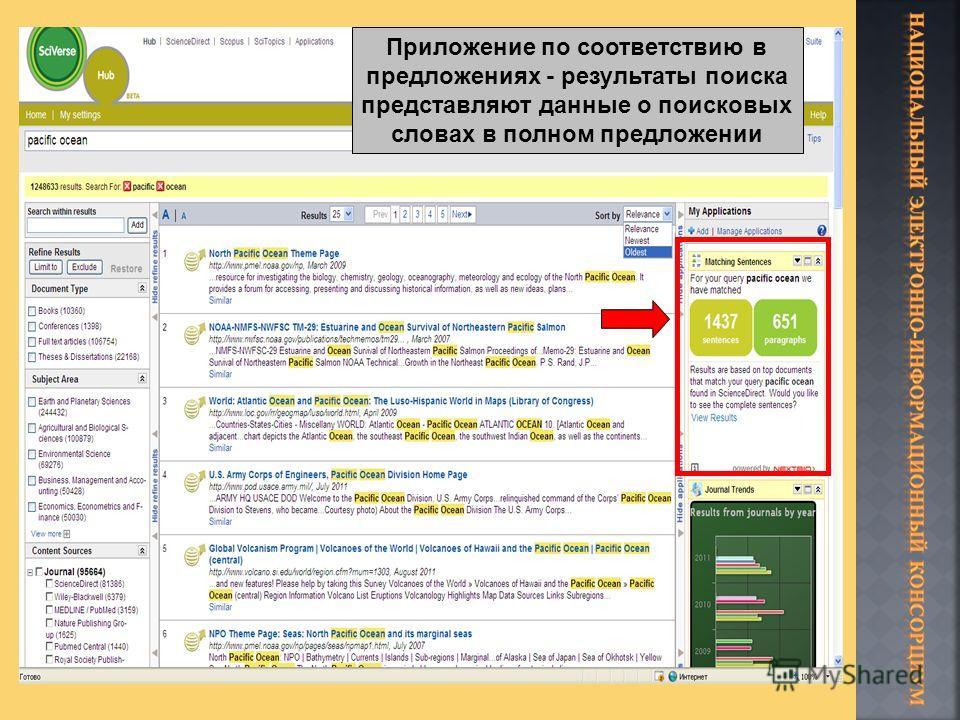 Приложение по соответствию в предложениях - результаты поиска представляют данные о поисковых словах в полном предложении