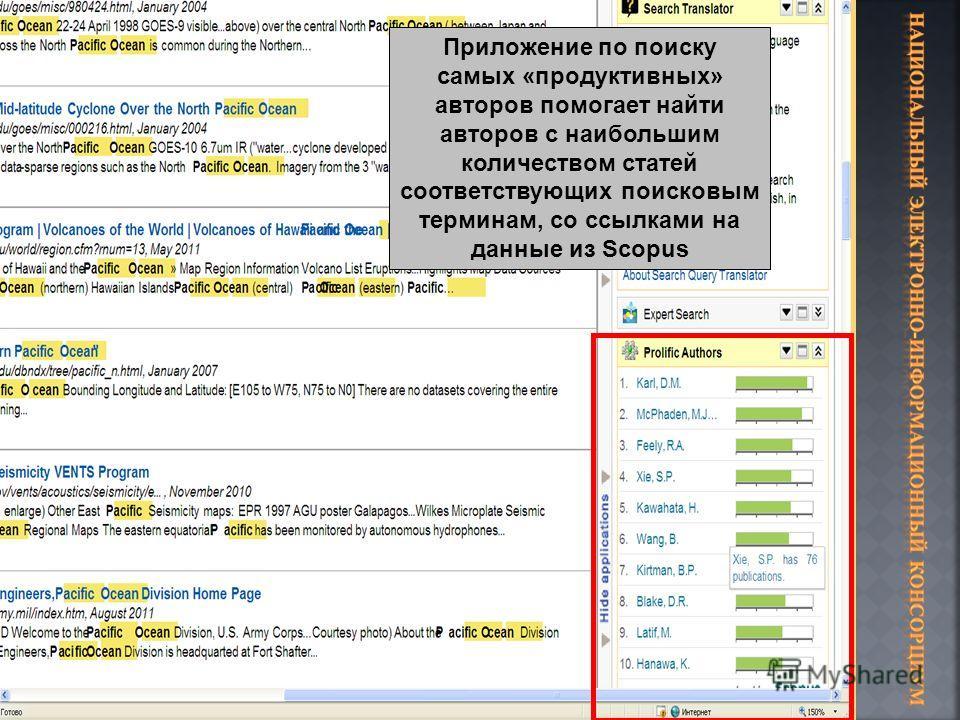 Приложение по поиску самых «продуктивных» авторов помогает найти авторов с наибольшим количеством статей соответствующих поисковым терминам, со ссылками на данные из Scopus