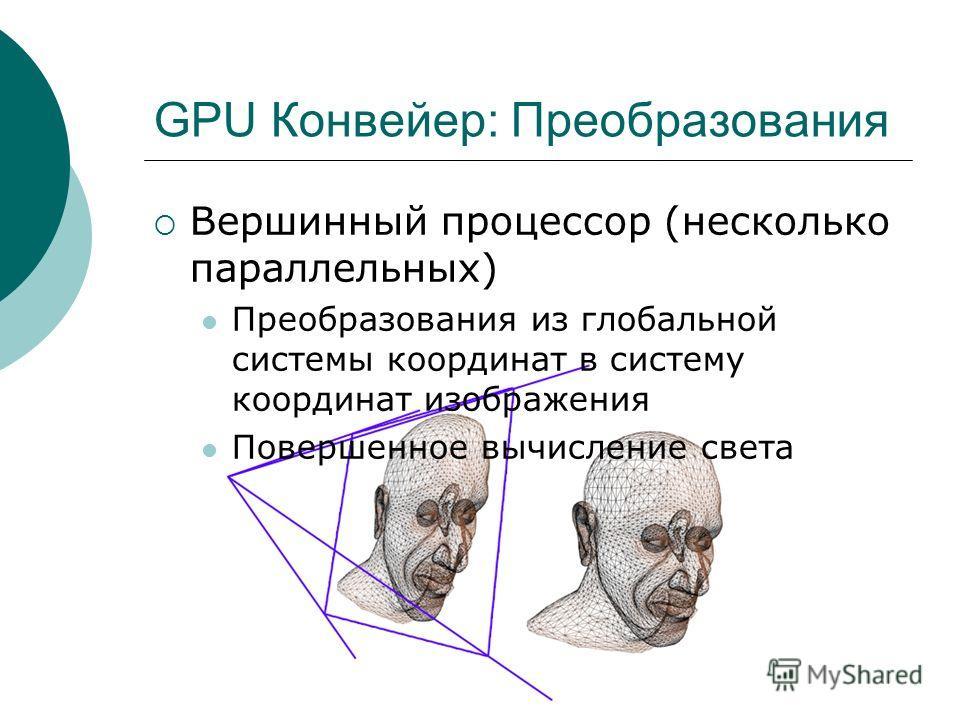 GPU Конвейер: Преобразования Вершинный процессор (несколько параллельных) Преобразования из глобальной системы координат в систему координат изображения Повершенное вычисление света