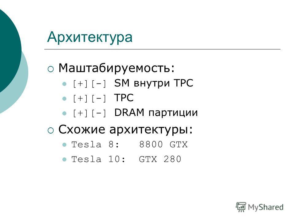 Архитектура Маштабируемость: [+][-] SM внутри TPC [+][-] TPC [+][-] DRAM партиции Схожие архитектуры: Tesla 8: 8800 GTX Tesla 10: GTX 280