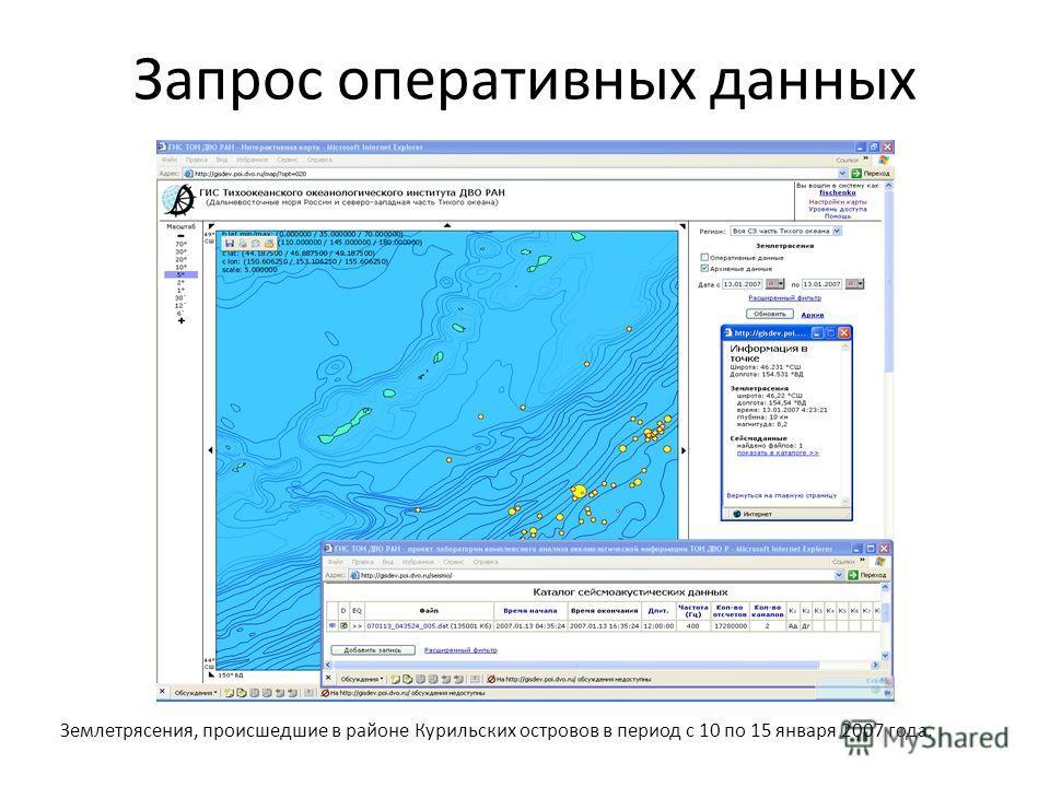 Запрос оперативных данных Землетрясения, происшедшие в районе Курильских островов в период с 10 по 15 января 2007 года.